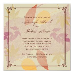 Rustic Fall Leaves Wedding Invitation 5.25