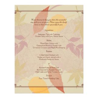 Rustic Fall Leaves Wedding Menu Flyers