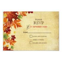 Rustic ,fall leaves wedding RSVP 3.5 x 5 Card