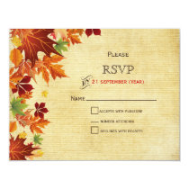 Rustic ,fall leaves wedding RSVP cards
