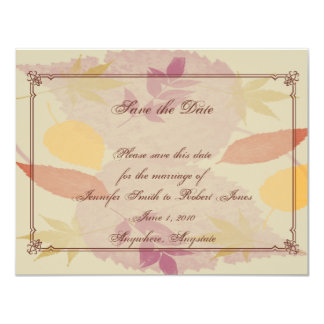 Rustic Fall Leaves Wedding Save the Date Personalized Invitation