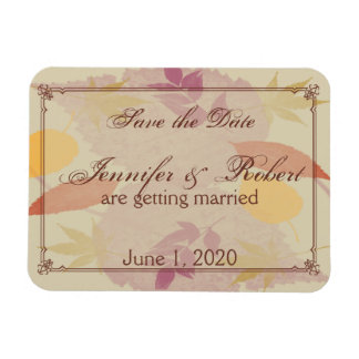Rustic Fall Leaves Wedding Save the Date Rectangular Photo Magnet