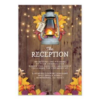 Rustic Fall Lights Autumn Leaves Wedding Reception Card