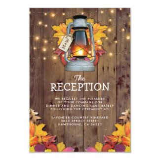Rustic Fall Lights Autumn Leaves Wedding Reception Card