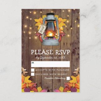 Rustic Fall Lights Autumn Leaves Wedding RSVP