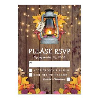 Rustic Fall Lights Autumn Leaves Wedding RSVP Card