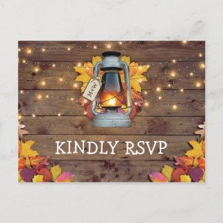 Rustic Fall Lights Autumn Leaves Wedding RSVP Invitation Postcard