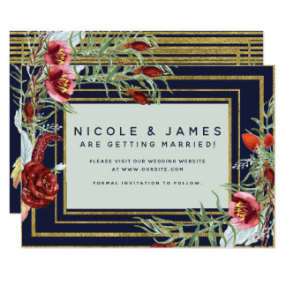 Rustic Fall Marsala Floral Navy Blue Save the Date Card