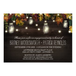 Rustic Fall Mason Jar Engagement Party Invitations
