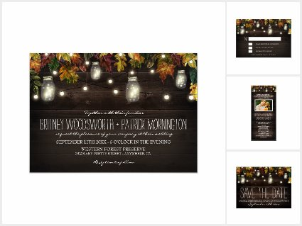 Rustic Fall Mason Jar Wedding Invitations Suite
