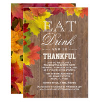 Rustic Fall Old Wood Barn Thanksgiving Invitation