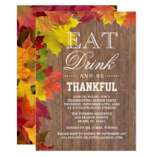 Rustic Fall Old Wood Barn Thanksgiving Invitation