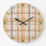 Rustic Fall Plaid Watercolor Pattern Large Clock