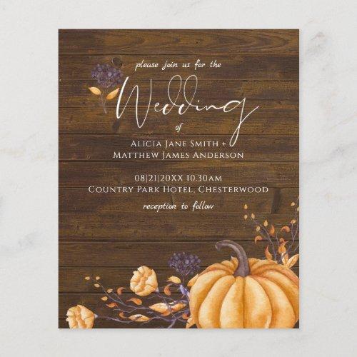 Rustic Fall Pumpkin Wedding Budget Invitations
