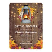 Rustic Fall String Lights Autumn Bridal Shower Invitations
