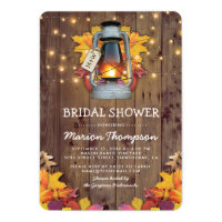 Rustic Fall String Lights Autumn Bridal Shower Invitation