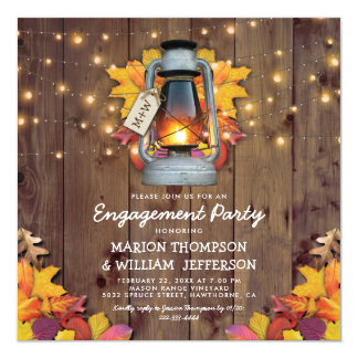 Rustic Fall String Lights Autumn Engagement Party Card