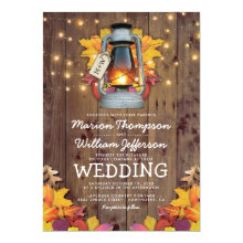 Rustic Fall String Lights Autumn Leaves Wedding Invitations