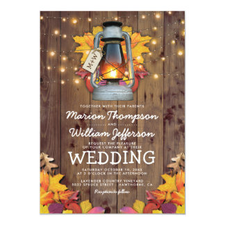 Rustic Fall String Lights Autumn Leaves Wedding Card
