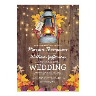 Rustic Fall String Lights Autumn Leaves Wedding Invitation