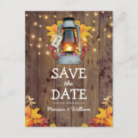 Rustic Fall String Lights Autumn Save the Date Announcement Postcard