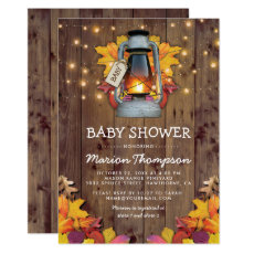 Rustic Fall String Twinkle Lights Baby Shower Invitation