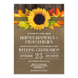 Rustic Fall Sunflower   Burlap Wedding Invitations