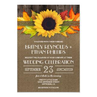 Rustic Fall Sunflower   Burlap Wedding Invitations