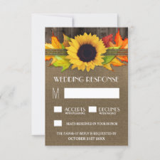 Rustic Fall Sunflower + Burlap Wedding RSVP Cards