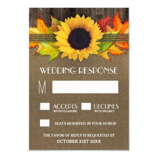 Rustic Fall Sunflower + Burlap Wedding RSVP Cards