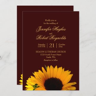 Rustic Fall Sunflower Wedding Invitation