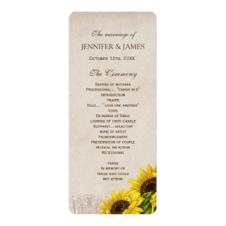 Rustic Fall Sunflower Wedding Program