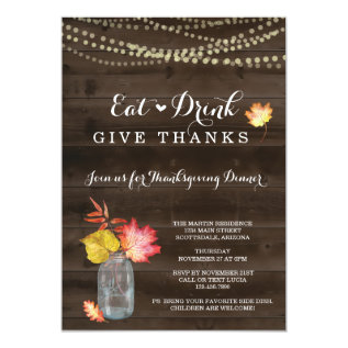 Rustic Fall Thanksgiving Dinner Party Invitation at Zazzle