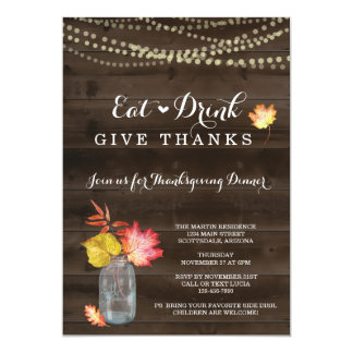 Rustic Fall Thanksgiving Dinner Party Invitation