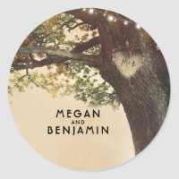 Rustic Fall Tree and String Lights Wedding Classic Round Sticker