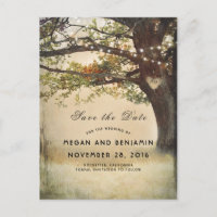 Rustic Fall Tree and Twinkle Lights Save the Date Announcement Postcard