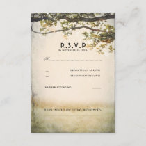 Rustic Fall Tree Branches Wedding RSVP Cards
