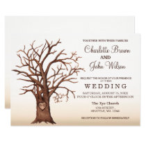 Rustic Fall Tree Carved Initial Wedding Invitation
