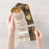 Rustic Fall Tree Lights Wedding All In One Invitation