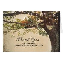Rustic Fall Tree Lights Wedding Thank You