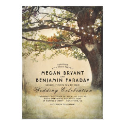 Rustic Fall Tree String of Lights Branches Wedding Card