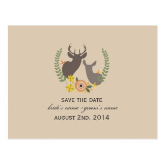 Rustic Fall Wedding Floral Deer Save The Date Postcards