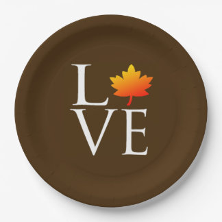 Rustic Fall Wedding Love Orange Maple Leaf Autumn Paper Plate