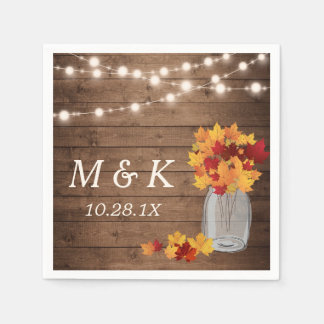 Rustic Fall Wedding Monogram String Lights Wood Napkin