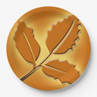 Rustic Fall Wedding Pretty Autumn Leaf Design Paper Plate