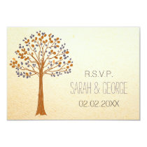 Rustic Fall Wedding rsvp standard 3.5 x 5 Card