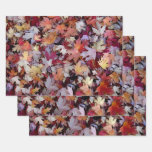 [ Thumbnail: Rustic Fallen Autumn Tree Leaves Pattern Wrapping Paper Sheets ]
