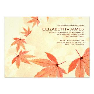 Rustic Falling Leaves Wedding Invitations Custom Invites