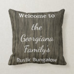 [ Thumbnail: Rustic Family Name Bungalow Welcome Pillow ]