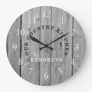 Rustic Family Name Country Wood Large Clock